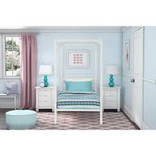 Rory Metal Canopy White Twin Size Bed Frame