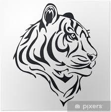 Plakát Tygr Hlava Tetování Vektor