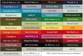 Hoodie Colour Chart Hoodies