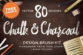 Free Download: Chalk & Charcoal Vector <b>Brushes</b> Sample ...