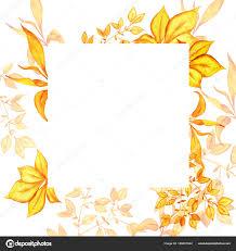 beautiful watercolor painting autumn frame orange leaves stock photo