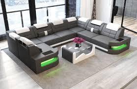 Sofa U Form Leder Sofa Wohnlandschaft O U Form In Leder Grau