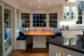 white brown colors kitchen breakfast. Amusing U Shape Breakfast Nooks At Bat Window And Wooden Table Near Granite Kitchen Countertop White Brown Colors