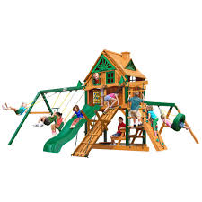 frontier treehouse wooden playset with fort add on timber shieldposts and tire