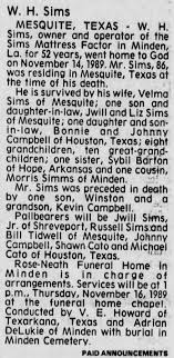 Obituary for W. H. Sims (Aged 86) - Newspapers.com