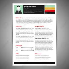 Colored Flat Resume And Cv Template Vector Illustration