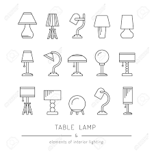 types of interior lighting. The Set Of Elements Lighting Design, Table Lamps Various Types And Sizes For Interior T