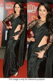 New Bollywood Designer Sarees Bollywood Style Pragya Jaiswal Satin Silk Designer Saree In Black Colour Nc1341
