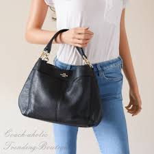 New Coach F23537 Small Lexy Shoulder Bag In Pebble Leather Black