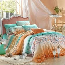 aqua blue and orange tribal inspired fl print 100 silk soft tencel full queen size