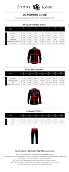 Online Shirt Size Chart Stone Rose Size Guide Stone Rose Online Clothing