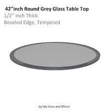 grey glass table top 42 inch round beveled tempered glass