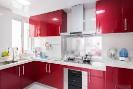 Apartment Kitchen Renovation Lovely Red And Ivory Remodel Kitchen Design With L Shapes Cabinet