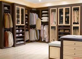 Open Closets Small Spaces Bedroom Bedroom Furniture L Shape Brown Stained Wooden Closet