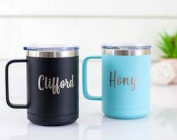 Full loop designs fit mitts fully, easy grip, making it the great outdoor travel mug and the coffee thermos in the office as well, tailored for ice and coffee lovers. Travel Mug With Handle Etsy