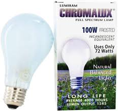 Chromalux Light Bulbs Chromalux H Pc 67531 Light Bulb Frosted Full Spectrum 100 Watt 1 Count