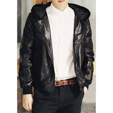 jackets coat loose fit hooded z ph solid color abstract stripes embellished long sleeves men s pu leather coat chea