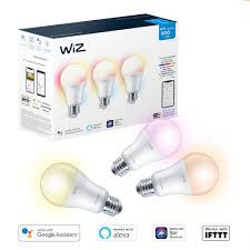 Led Light Bulbs Home Depot Canada Wiz 60w A19 Frosted Full Colour And Tunable White Led Smart Home Wi Fi Light Bulb 3 Pack