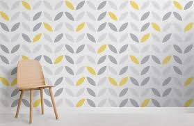 Flower Pattern Wallpaper Awesome Yellow And Grey Abstract Flower Pattern Wallpaper Murals Wallpaper