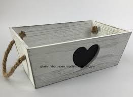 shabby french vintage wooden trug storage with heart chalkboard box