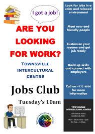 Flyer Jobs Jobs Club Townsville Intercultural Centre