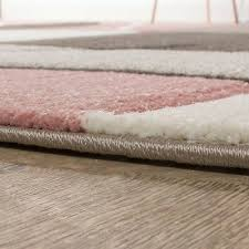 modern grey pink rug pastel pale soft checd bedroom carpet small extra large 3