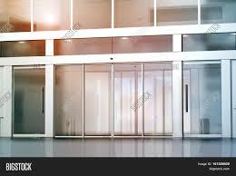 office entry doors. Office Entrance Doors. Modren Doors Blank Sliding Glass  Mockup 3d Rendering Commercial Building Entry U