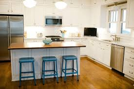 l shaped kitchen design with island and white cabinets feat unique portable barstools plus beautiful pendant