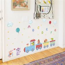 <b>Animals train English Letter</b> balloon Wall stickers for kids room wall ...