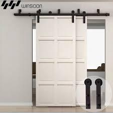 WinSoon 5-16FT Bypass Sliding Barn Door Hardware Double Rustic Black Track  Kit New Barn