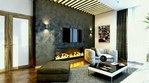 gas fireplace on wall under tv among two lights with vaulted ceiling for modern family room