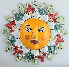 sun face wall art ceramic sun face wall decor hanging pottery folk art large smiling metal sun face wall art