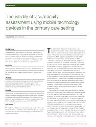 Pdf The Validity Of Visual Acuity Assessment Using Mobile