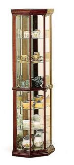 cst3393 corner curio cherry finish wood curio cabinet with glass shelves mirrored back and glass
