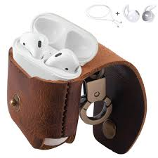 mrplum airpods leather case ear hooks genuine leather portable protective cover skin with metal clasp compatible with apple airpods 1 charging case brown