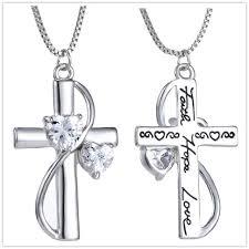 Online Shop Crystal Faith Hope Love Cross <b>Necklace</b> For Women ...