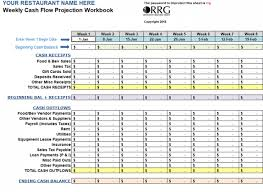 Cash Flow Sheets Restaurant Weekly Cash Flow Workbook Spreadsheet