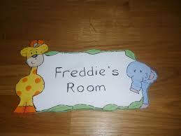 personalised childrens kids wooden bedroom door name plaque sign jungle animals