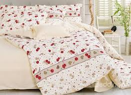 sweet cherry printing 4 piece cotton duvet cover sets