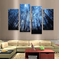 modern wall art panels night blue sky stars trees canvas painting 4 panels modern wall art