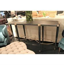 sofa console table. Fiona Black Ceruse Hollywood Regency Brass Sofa Console Table | Kathy Kuo Home E