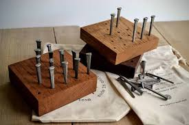 Wooden Peg Solitaire Game Peg Solitaire 100 Nails Game Reclaimed Wood and Nails Carver 84