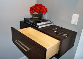 Beautiful Floating Bedside Table Along With Flower Glass Vase Wall Mounted  Nightstand Plans Some Books And