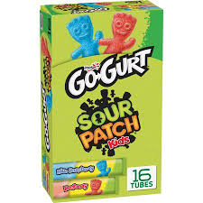 Yoplait Go-Gurt, Sour Patch Kids Portable Low Fat Yogurt, Blue ...