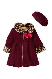 image of penelope mack weekend faux fur coat hat set toddler girls