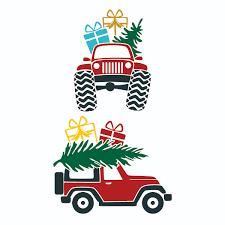 Christmas Jeep Car Svg Cuttable Design