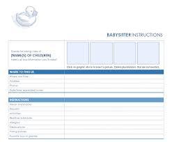 babysitting schedule template babysitter checklist babysitting checklist