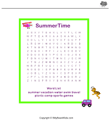 Summer Word List 7 New Summer Vacation Word Search Printable For Kids