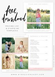 Photography Pricing Template Free Pricing List Studio Ad Templates Photography Lessons Tips