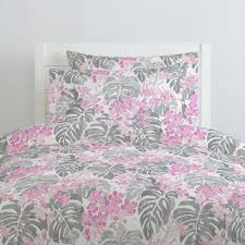 pink and gray tropical duvet cover